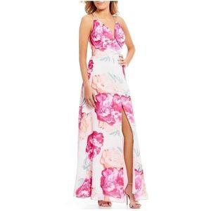 Calvin Klein Strappy Floral-Print Gown